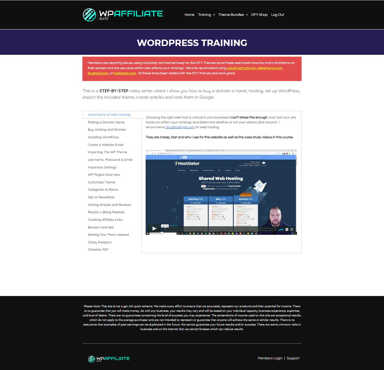 WP Affiliate Suite WordPress Training
