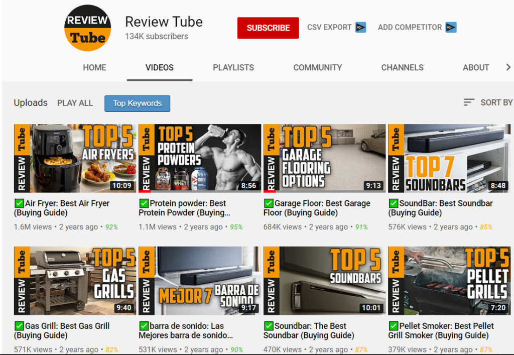 Channels that make money on YouTube with affiliate marketing.